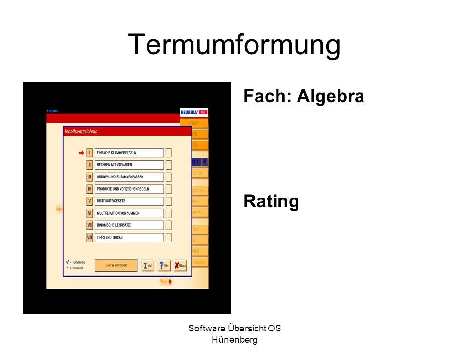 Software Übersicht OS Hünenberg Termumformung Fach: Algebra Rating