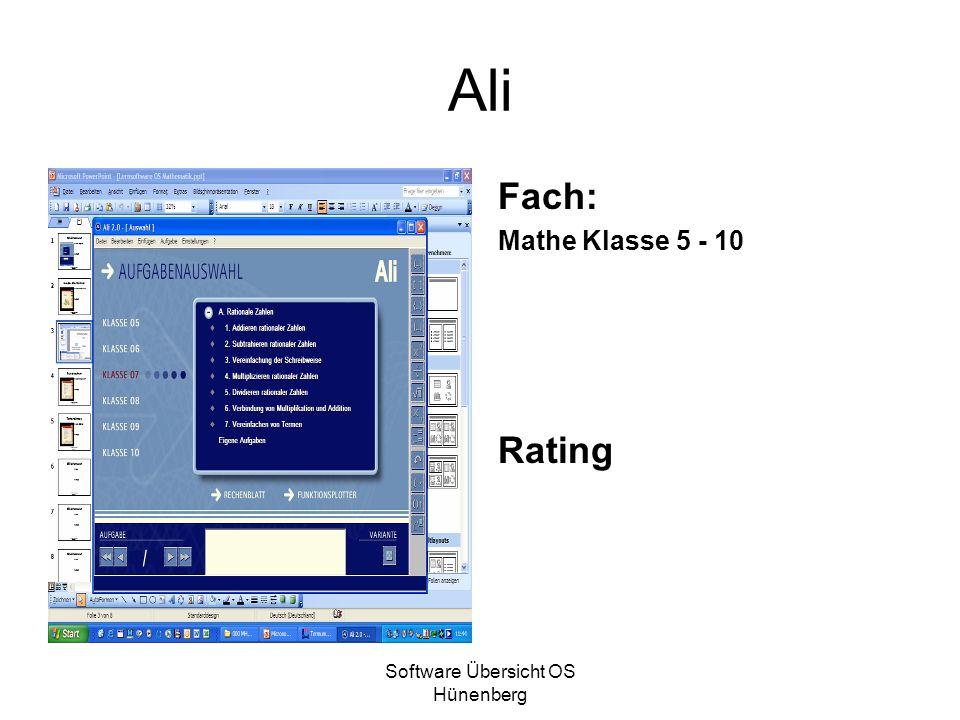 Software Übersicht OS Hünenberg Ali Fach: Mathe Klasse 5 - 10 Rating