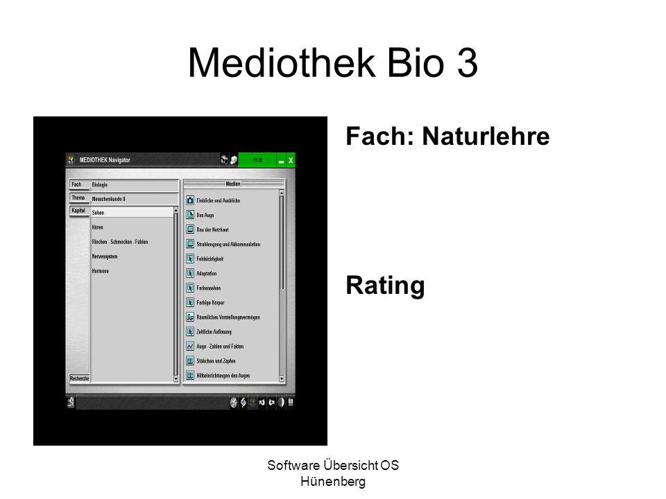 Software Übersicht OS Hünenberg Mediothek Bio 3 Fach: Naturlehre Rating