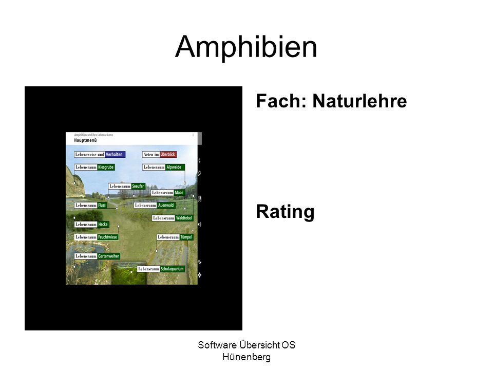 Software Übersicht OS Hünenberg Amphibien Fach: Naturlehre Rating