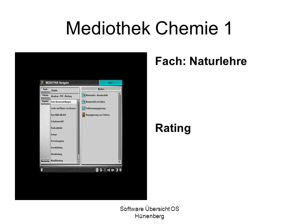 Software Übersicht OS Hünenberg Mediothek Chemie 1 Fach: Naturlehre Rating