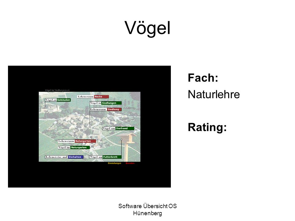Software Übersicht OS Hünenberg Vögel Fach: Naturlehre Rating: