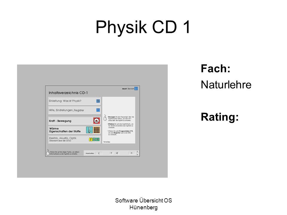 Software Übersicht OS Hünenberg Physik CD 1 Fach: Naturlehre Rating: