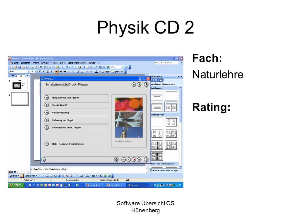 Software Übersicht OS Hünenberg Physik CD 2 Fach: Naturlehre Rating: