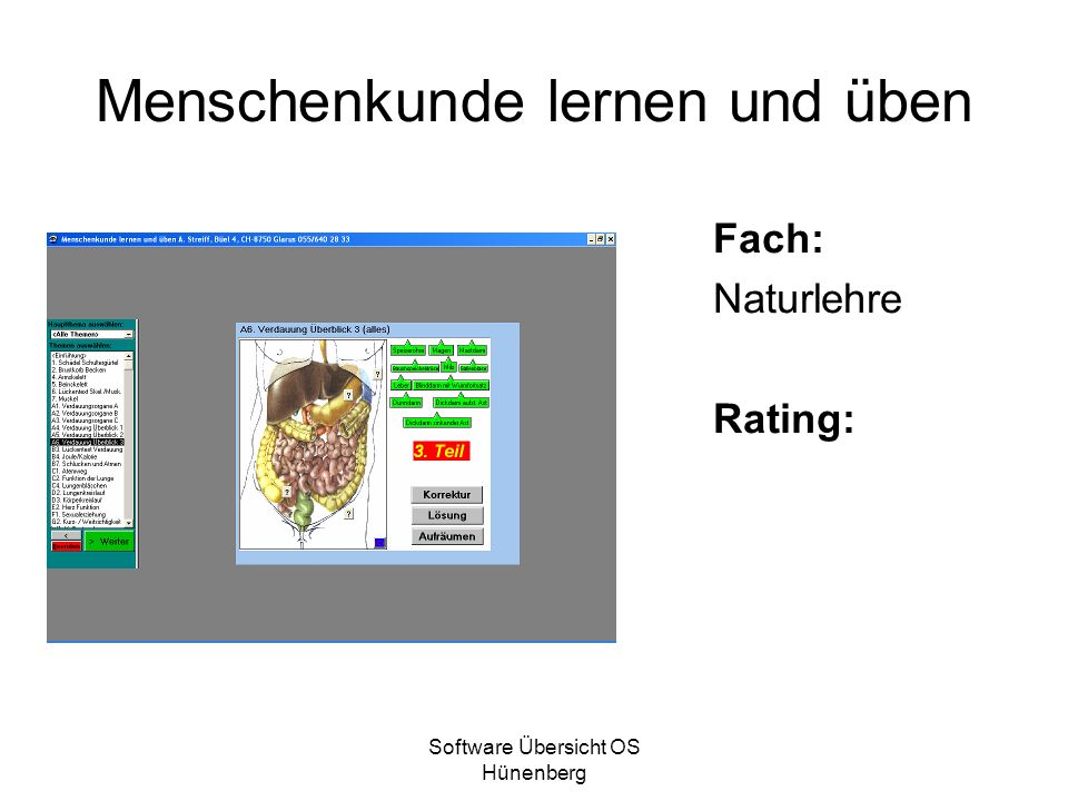 Software Übersicht OS Hünenberg Menschenkunde lernen und üben Fach: Naturlehre Rating: