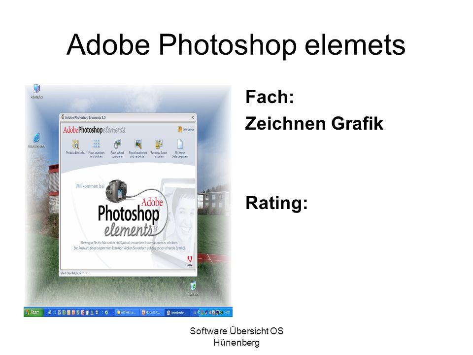 Software Übersicht OS Hünenberg Adobe Photoshop elemets Fach: Zeichnen Grafik Rating: