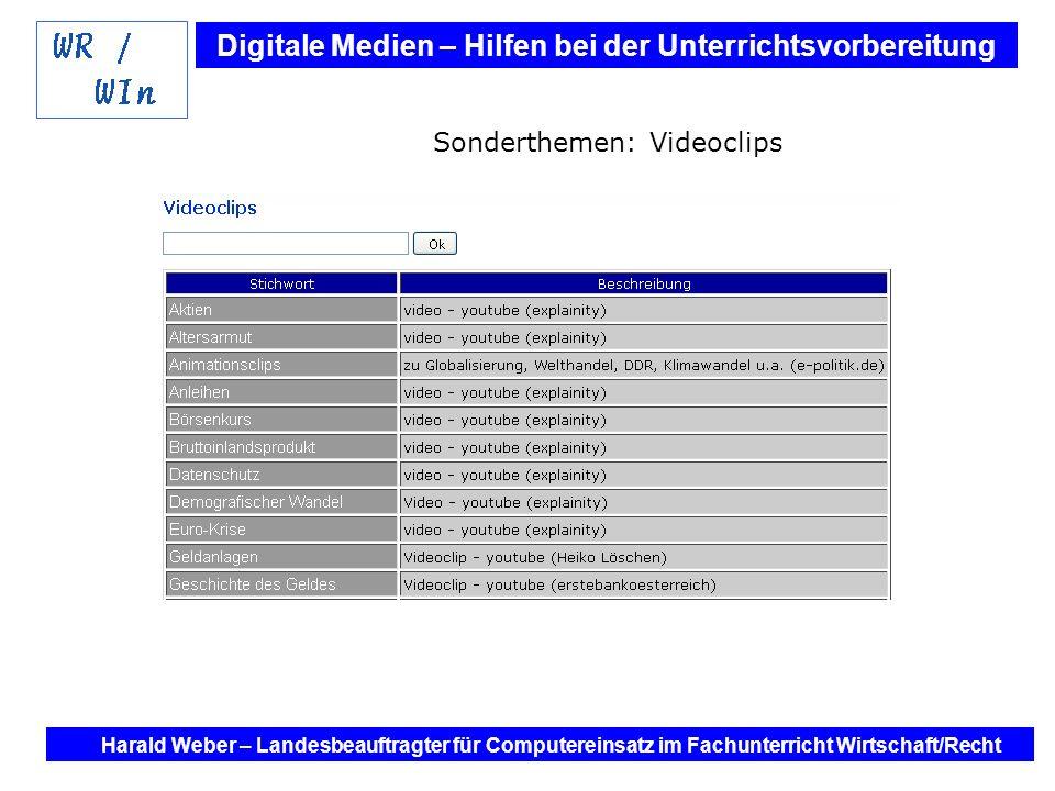 Digitale Medien – Hilfen bei der Unterrichtsvorbereitung Internet und Software - Hilfen bei der Unterrichtsvorbereitung im Fach Wirtschaft / Recht Harald Weber – Landesbeauftragter für Computereinsatz im Fachunterricht Wirtschaft/Recht G8: Oberstufe Sonderthemen: Karikaturen