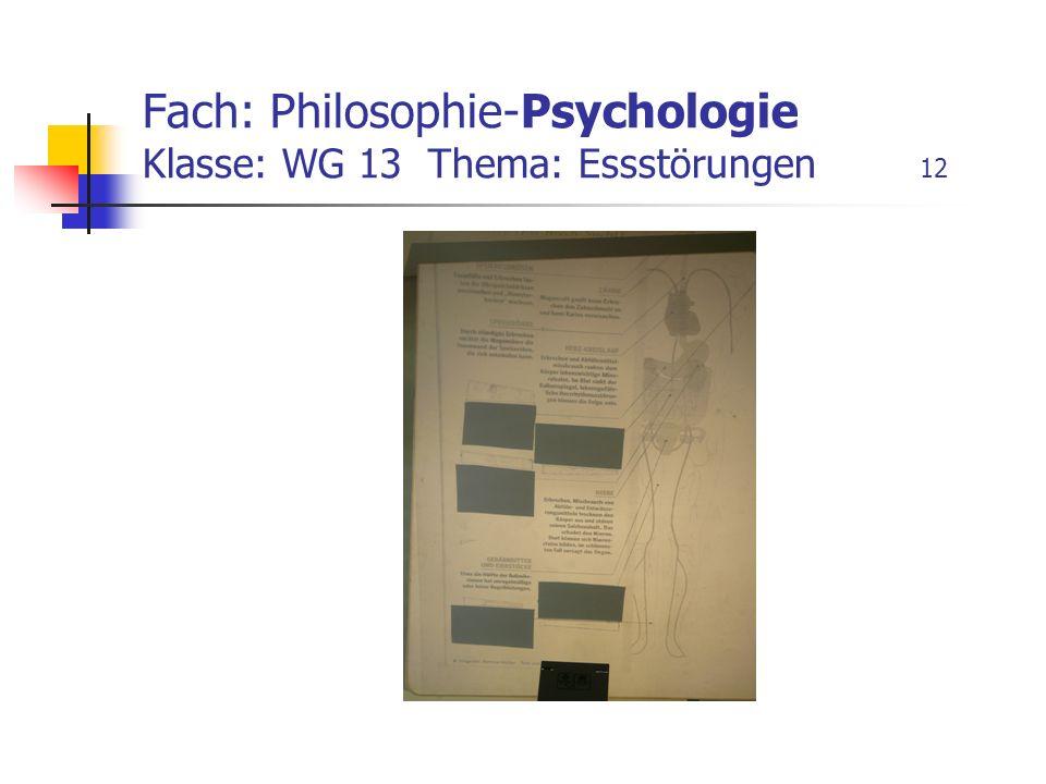 Fach: Philosophie-Psychologie Klasse: WG 13 Thema: Essstörungen 12