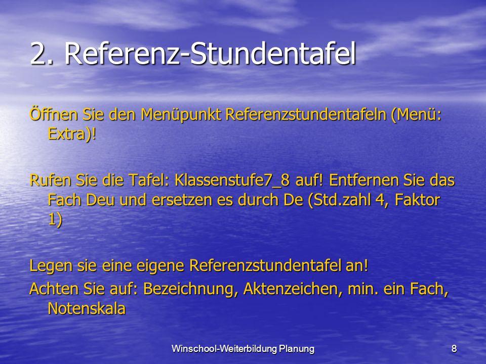 8 2.Referenz-Stundentafel Öffnen Sie den Menüpunkt Referenzstundentafeln (Menü: Extra).
