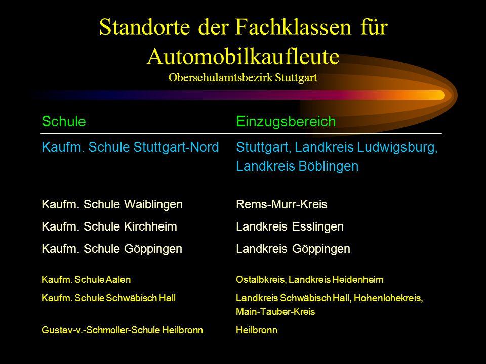 Standorte der Fachklassen für Automobilkaufleute Oberschulamtsbezirk Stuttgart SchuleEinzugsbereich Kaufm.