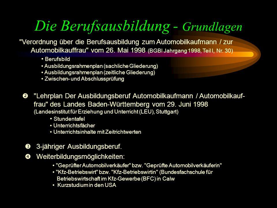 Die Berufsausbildung - Grundlagen 3-jähriger Ausbildungsberuf.