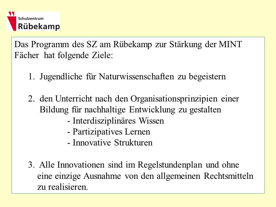 Das Programm des SZ am Rübekamp zur Stärkung der MINT Fächer hat folgende Ziele: 1.