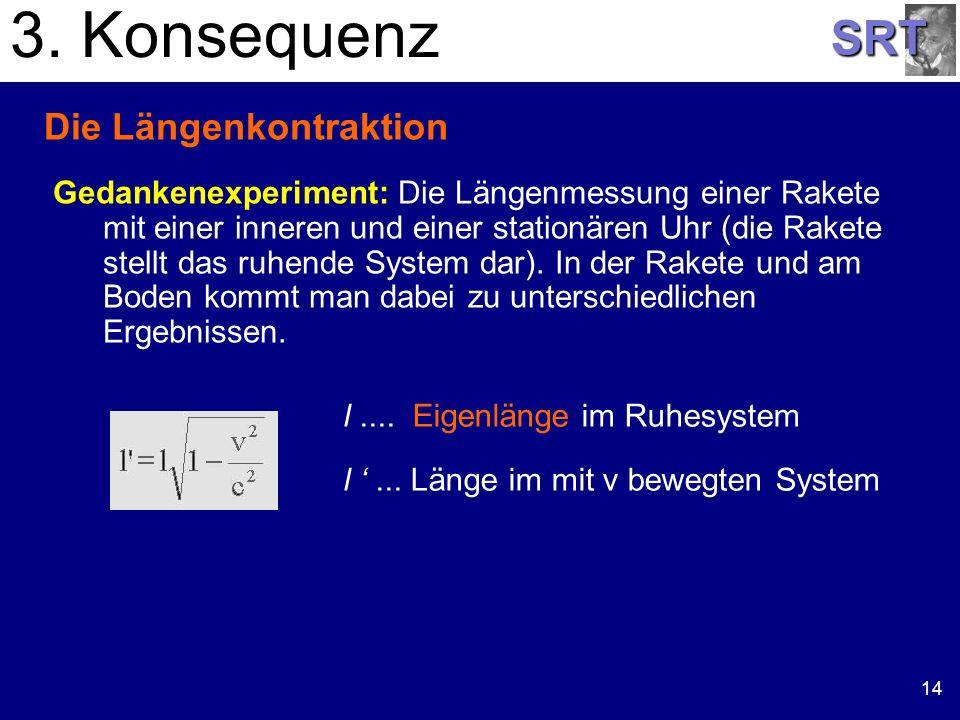 SRT 14 Die Längenkontraktion Gedankenexperiment: Die Längenmessung einer Rakete mit einer inneren und einer stationären Uhr (die Rakete stellt das ruh