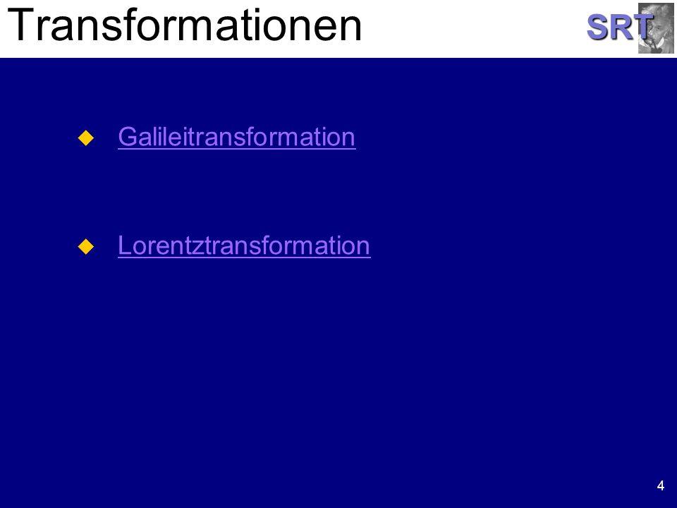 SRT Galilei Transformation 5 t = t x = x - v t y = y z = z
