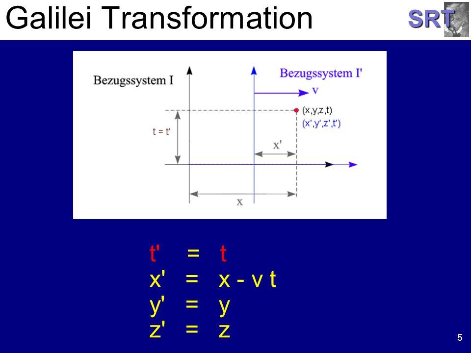 SRT Galilei Transformation 5 t' = t x' = x - v t y' = y z' = z