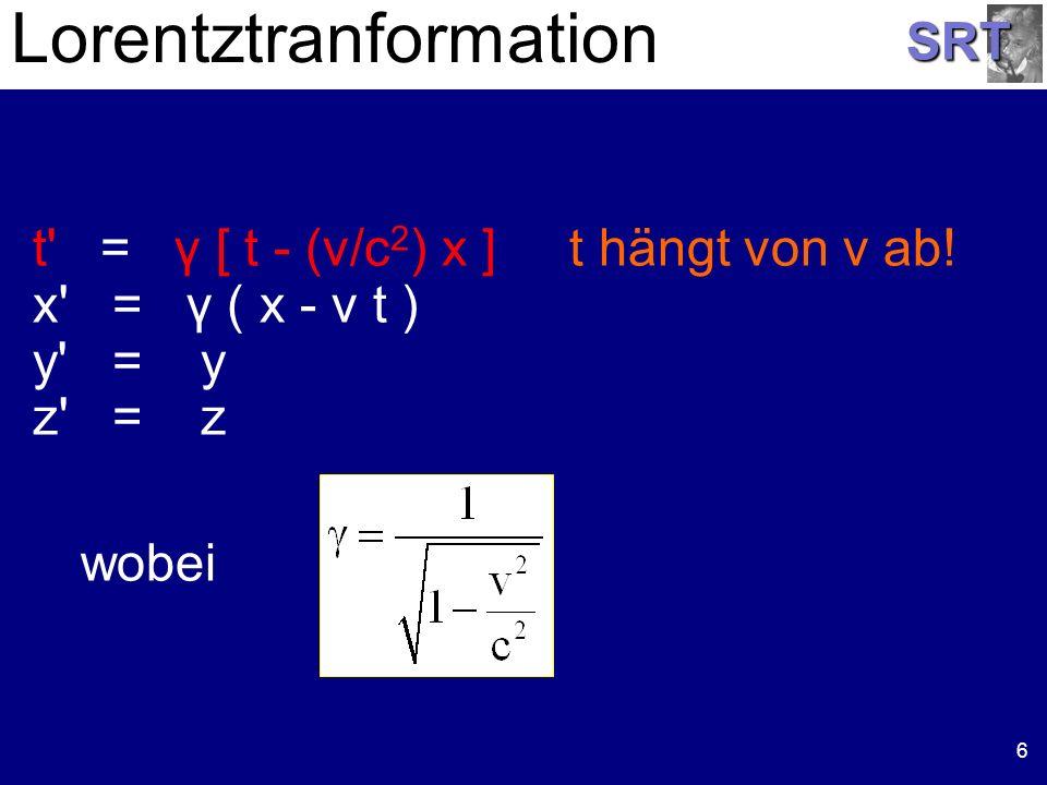 SRT Lorentztranformation 6 t' = γ [ t - (v/c 2 ) x ] t hängt von v ab! x' = γ ( x - v t ) y' = y z' = z wobei