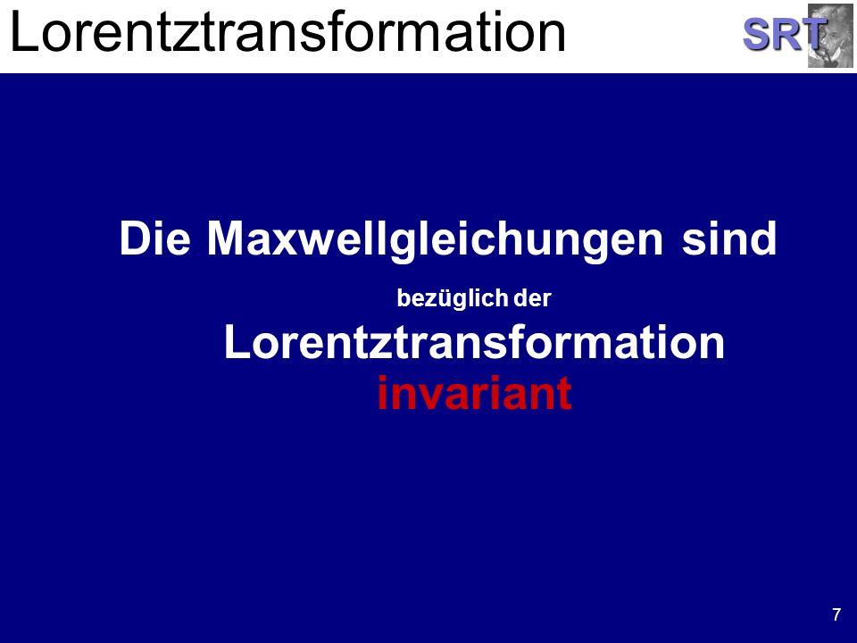 SRT 7 Lorentztransformation Die Maxwellgleichungen sind bezüglich der Lorentztransformation invariant