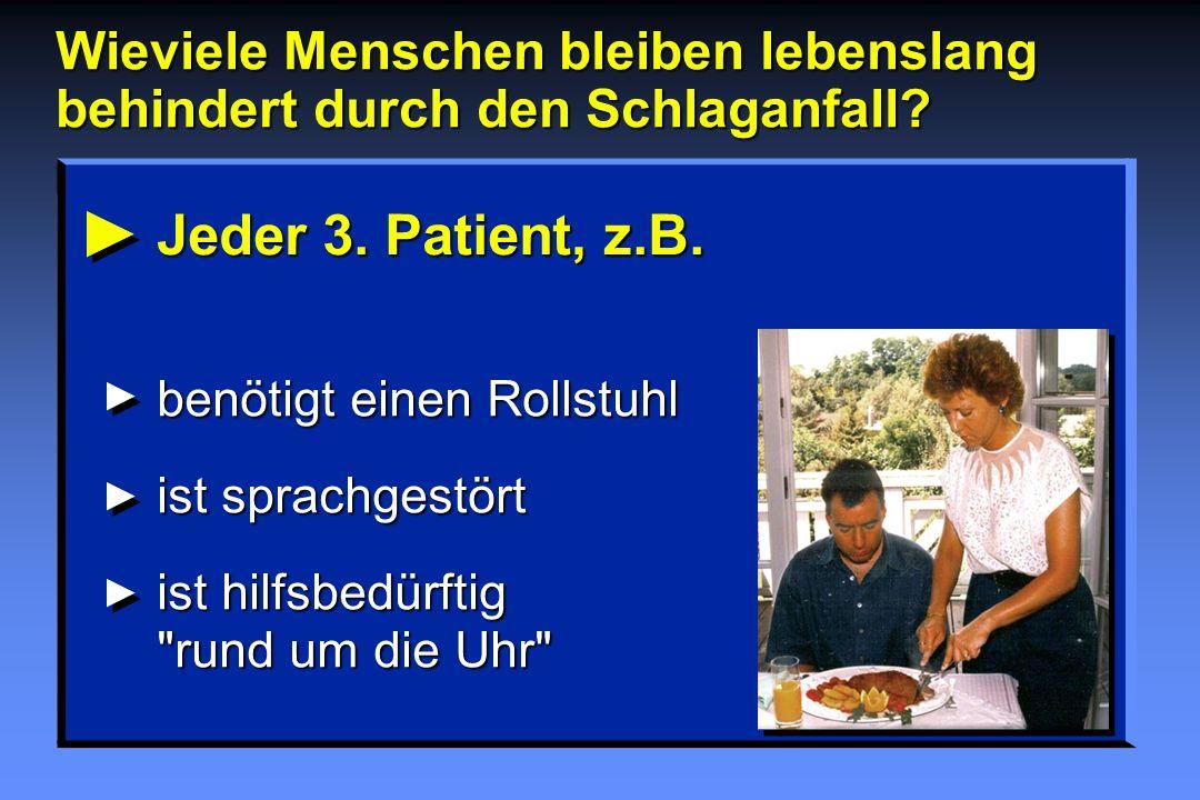 Jeder 3. Patient, z.B. benötigt einen Rollstuhl ist sprachgestört ist hilfsbedürftig