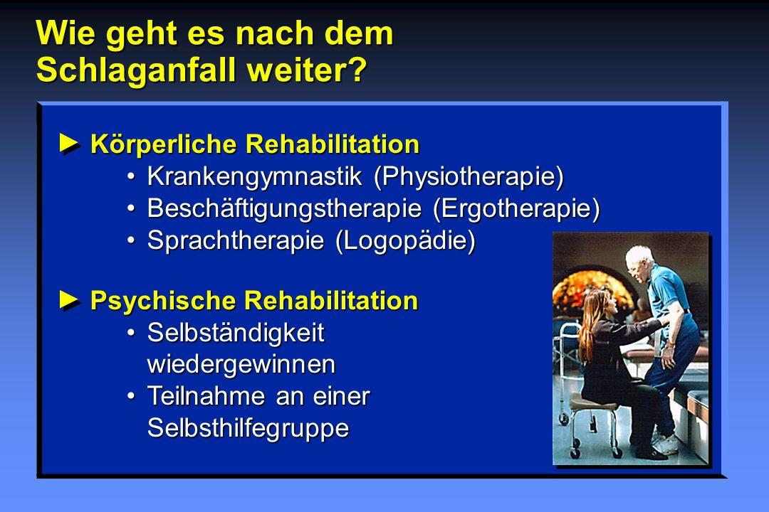 Körperliche RehabilitationKrankengymnastik (Physiotherapie)Beschäftigungstherapie (Ergotherapie)Sprachtherapie (Logopädie) Psychische RehabilitationSe