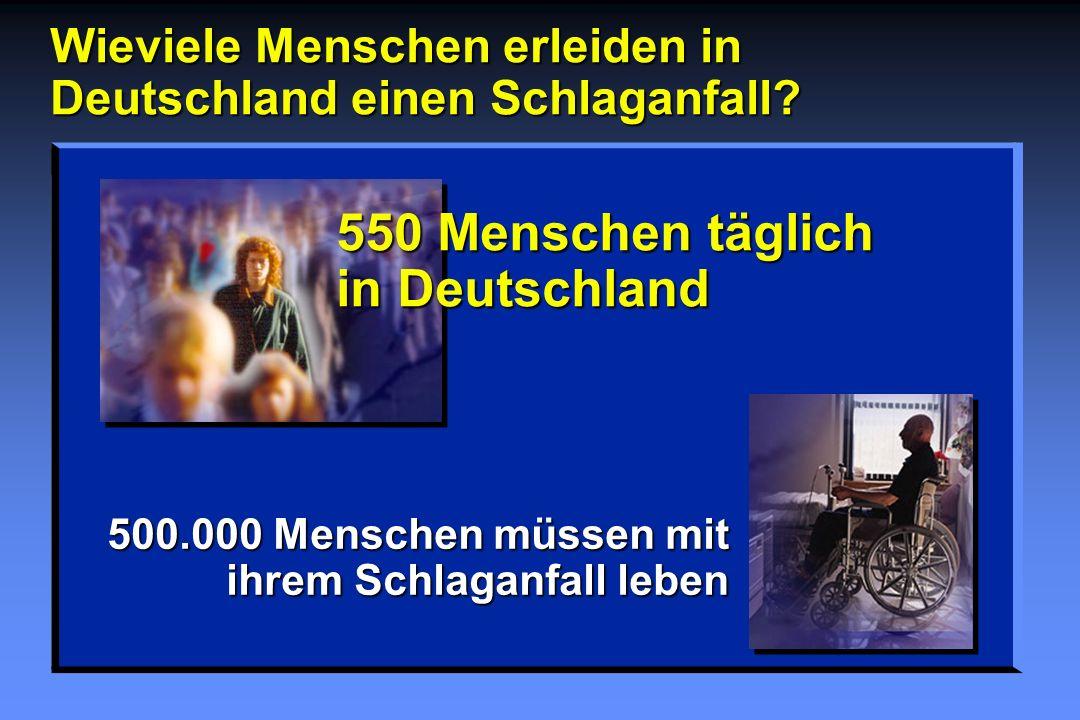 Wieviele Menschen erleiden in Deutschland einen Schlaganfall? 550 Menschen täglich in Deutschland 500.000 Menschen müssen mit ihrem Schlaganfall leben