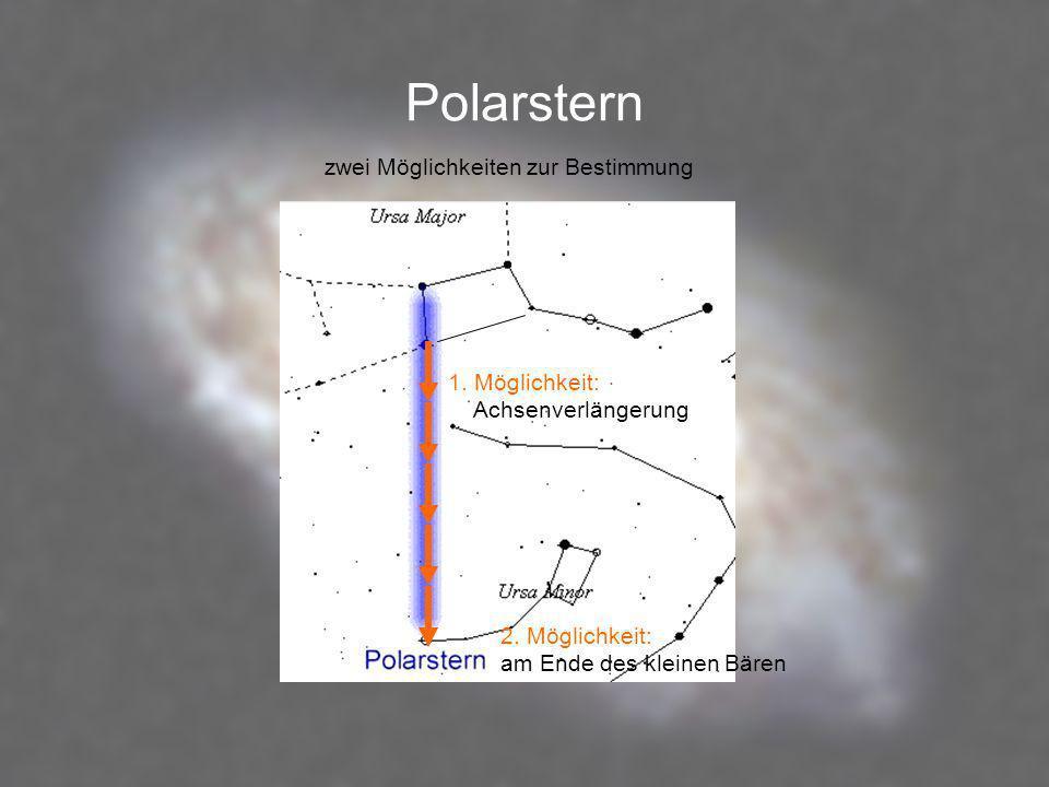 Polarstern 1. Möglichkeit: Achsenverlängerung 2. Möglichkeit: am Ende des kleinen Bären zwei Möglichkeiten zur Bestimmung