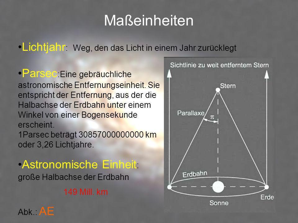 Maßeinheiten Lichtjahr : Weg, den das Licht in einem Jahr zurücklegt Parsec :Eine gebräuchliche astronomische Entfernungseinheit. Sie entspricht der E