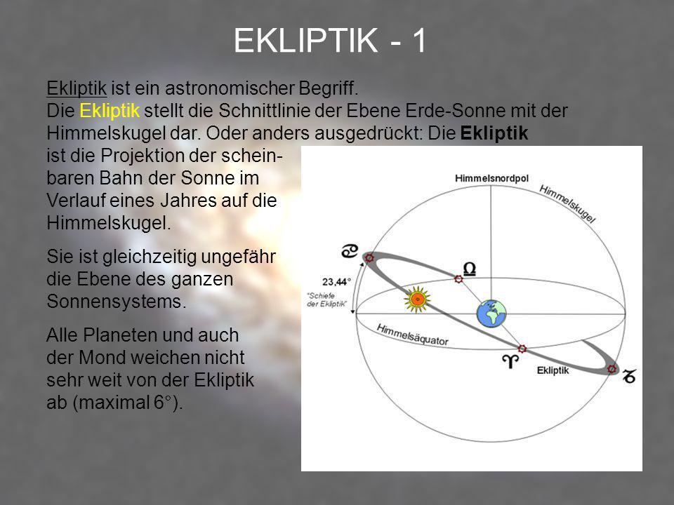 EKLIPTIK - 1 Ekliptik ist ein astronomischer Begriff. Die Ekliptik stellt die Schnittlinie der Ebene Erde-Sonne mit der Himmelskugel dar. Oder anders