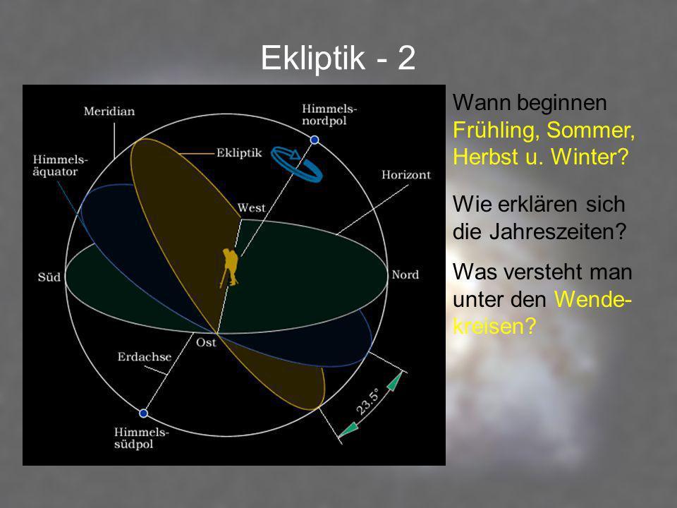 Ekliptik - 2 Wann beginnen Frühling, Sommer, Herbst u. Winter? Wie erklären sich die Jahreszeiten? Was versteht man unter den Wende- kreisen?