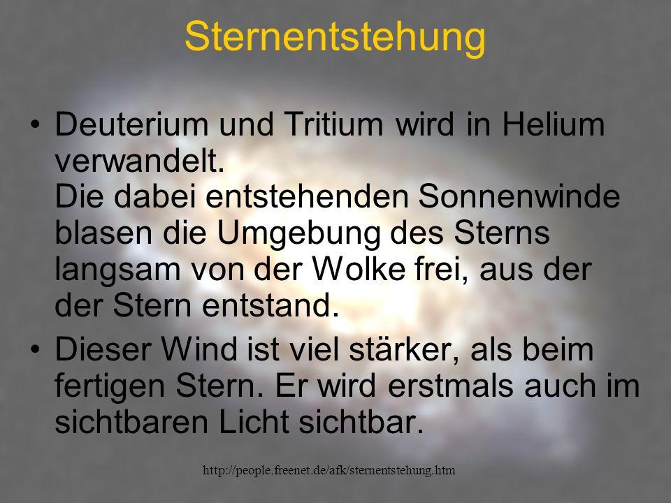 http://people.freenet.de/afk/sternentstehung.htm Sternentstehung Deuterium und Tritium wird in Helium verwandelt. Die dabei entstehenden Sonnenwinde b