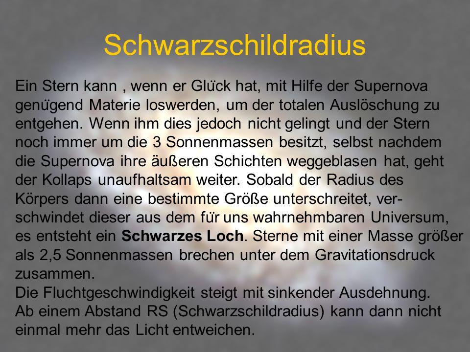 Schwarzschildradius Ein Stern kann, wenn er Glu ̈ ck hat, mit Hilfe der Supernova genu ̈ gend Materie loswerden, um der totalen Auslöschung zu entgehe
