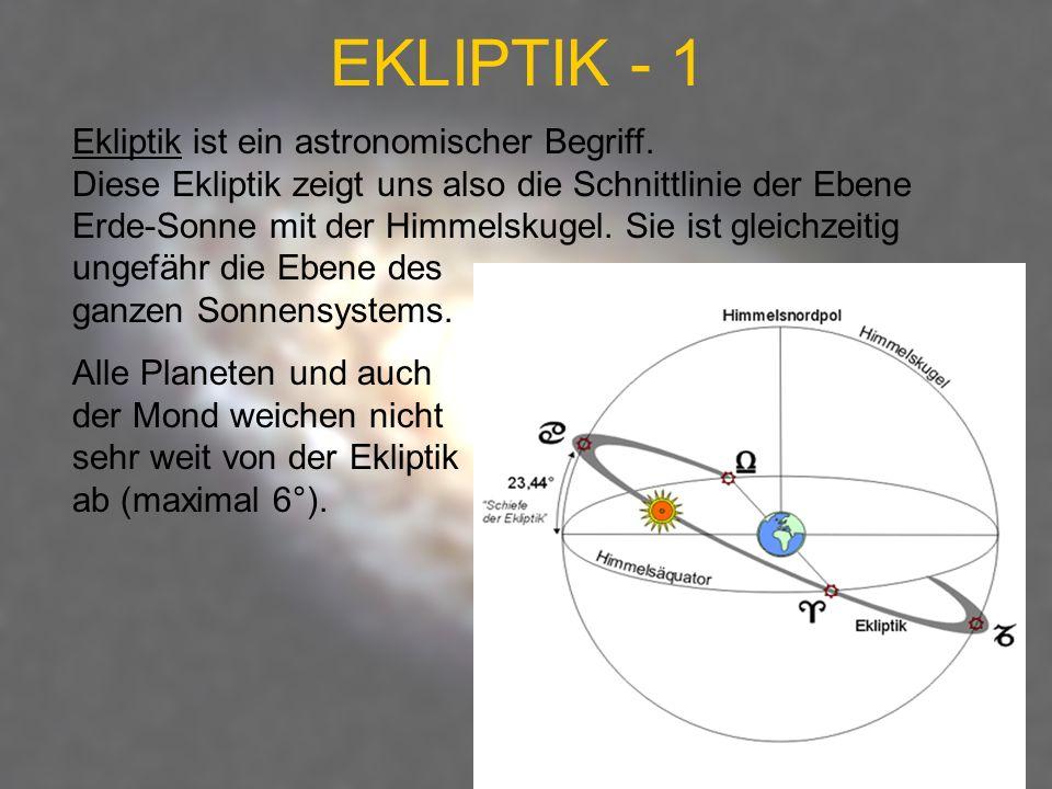 EKLIPTIK - 1 Ekliptik ist ein astronomischer Begriff. Diese Ekliptik zeigt uns also die Schnittlinie der Ebene Erde-Sonne mit der Himmelskugel. Sie is