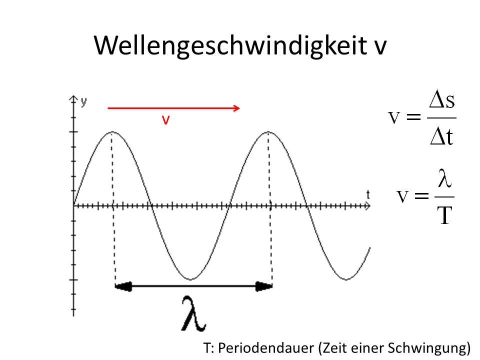 Wellengeschwindigkeit v v T: Periodendauer (Zeit einer Schwingung)