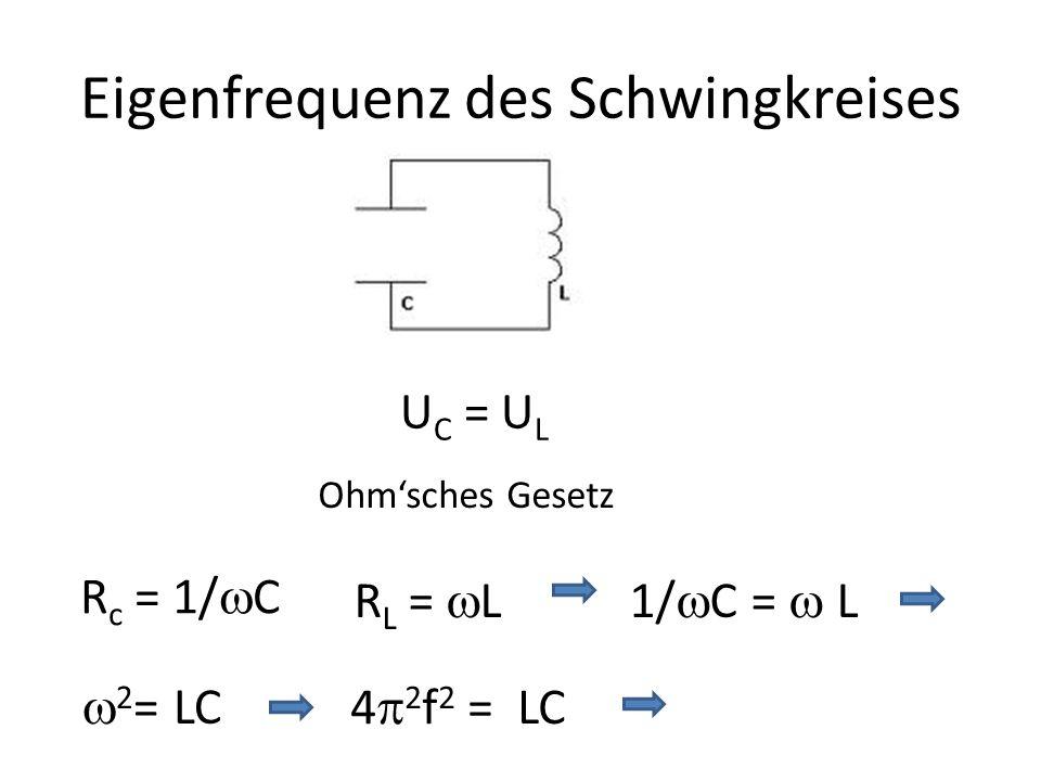 Eigenfrequenz des Schwingkreises U C = U L R c = 1/ C R L = L1/ C = L 2 = LC 4 2 f 2 = LC Ohmsches Gesetz