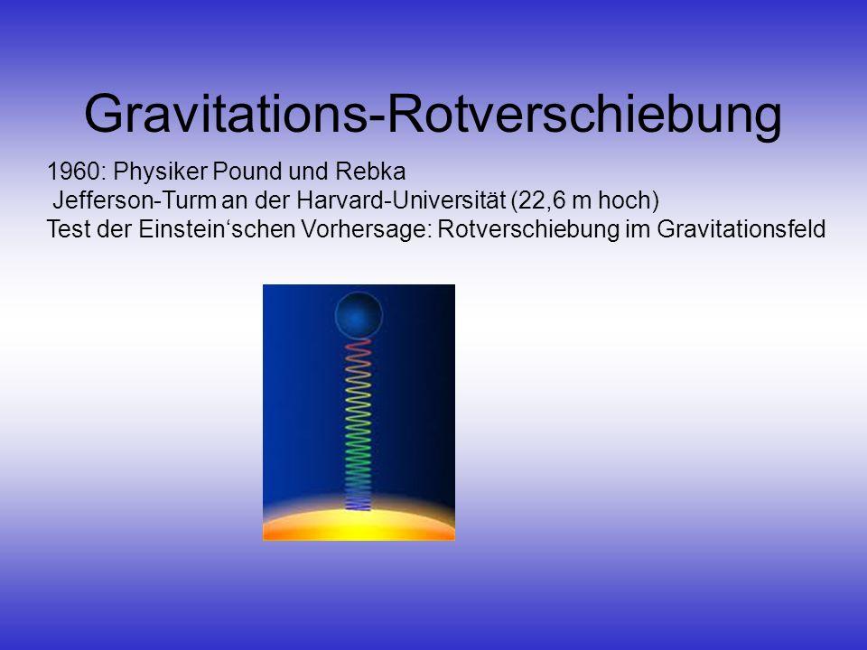 Gravitations-Rotverschiebung 1960: Physiker Pound und Rebka Jefferson-Turm an der Harvard-Universität (22,6 m hoch) Test der Einsteinschen Vorhersage: