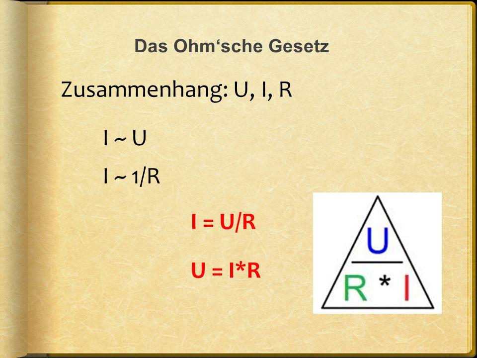 Das Ohmsche Gesetz Zusammenhang: U, I, R I = U/R I ~ U I ~ 1/R U = I*R