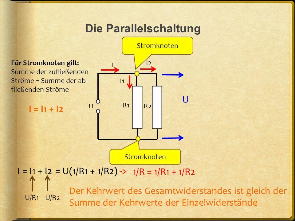 Die Parallelschaltung U R1 R2 I I1 I2 Stromknoten Für Stromknoten gilt: Summe der zufließenden Ströme = Summe der ab- fließenden Ströme I = I1 + I2 I