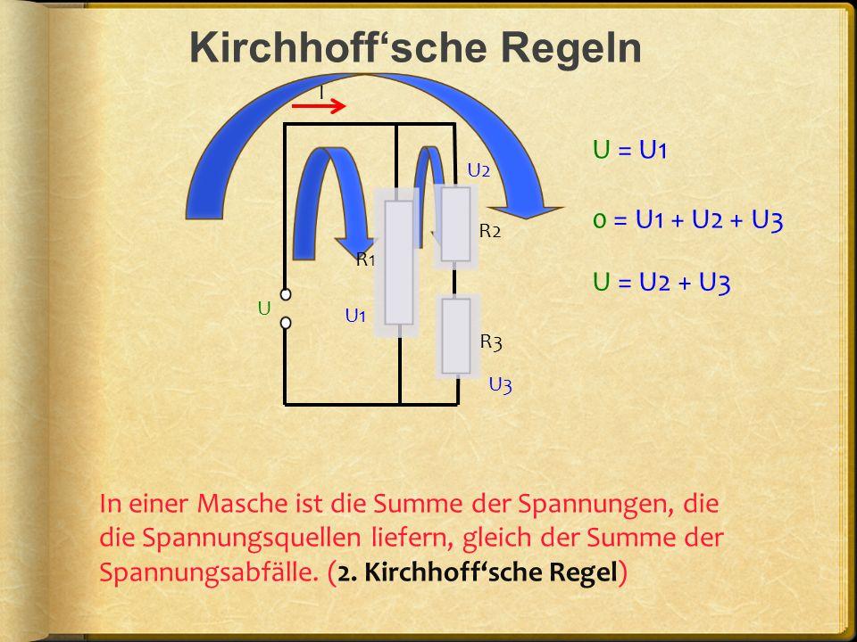 Kirchhoffsche Regeln I In einer Masche ist die Summe der Spannungen, die die Spannungsquellen liefern, gleich der Summe der Spannungsabfälle. (2. Kirc