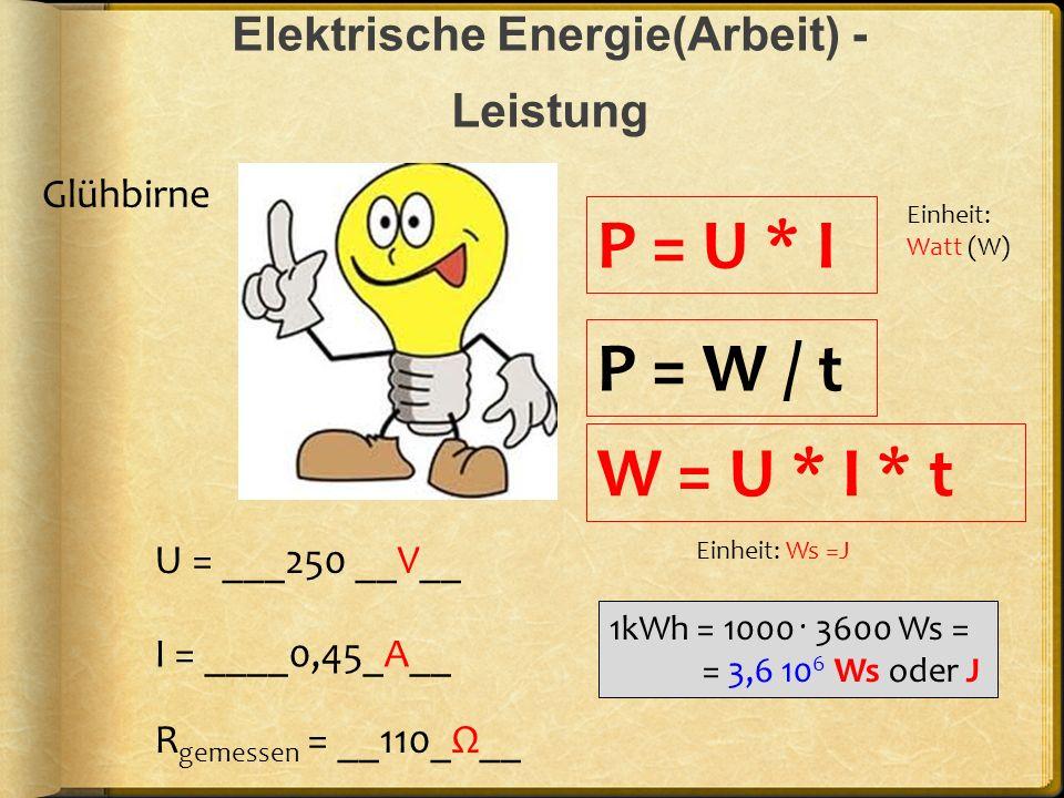 Elektrische Energie(Arbeit) - Leistung U = ___250 __V__ R gemessen = __110_Ω__ I = ____0,45_A__ P = U * I Glühbirne P = W / t W = U * I * t Einheit: W