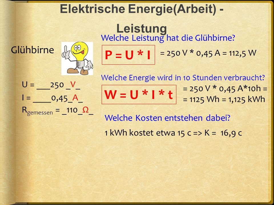 Elektrische Energie(Arbeit) - Leistung U = ___250 _V_ R gemessen = _110_Ω_ I = ____0,45_A_ P = U * I Glühbirne W = U * I * t = 250 V * 0,45 A = 112,5