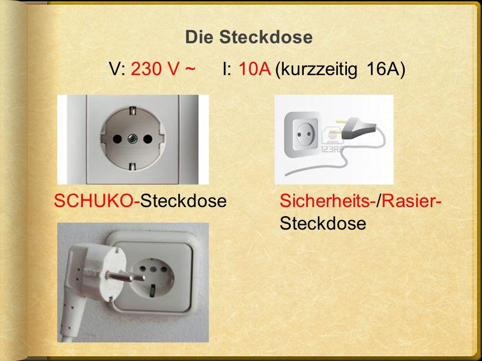 Die Steckdose V: 230 V ~ I: 10A (kurzzeitig 16A) SCHUKO-SteckdoseSicherheits-/Rasier- Steckdose