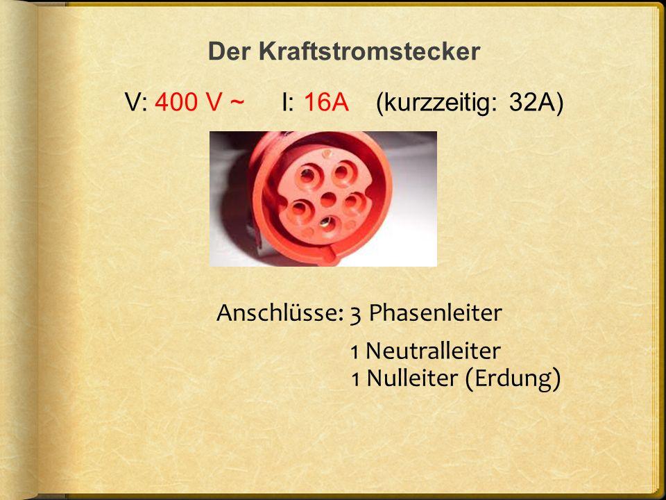 Der Kraftstromstecker V: 400 V ~ I: 16A (kurzzeitig: 32A) Anschlüsse: 3 Phasenleiter 1 Neutralleiter 1 Nulleiter (Erdung)
