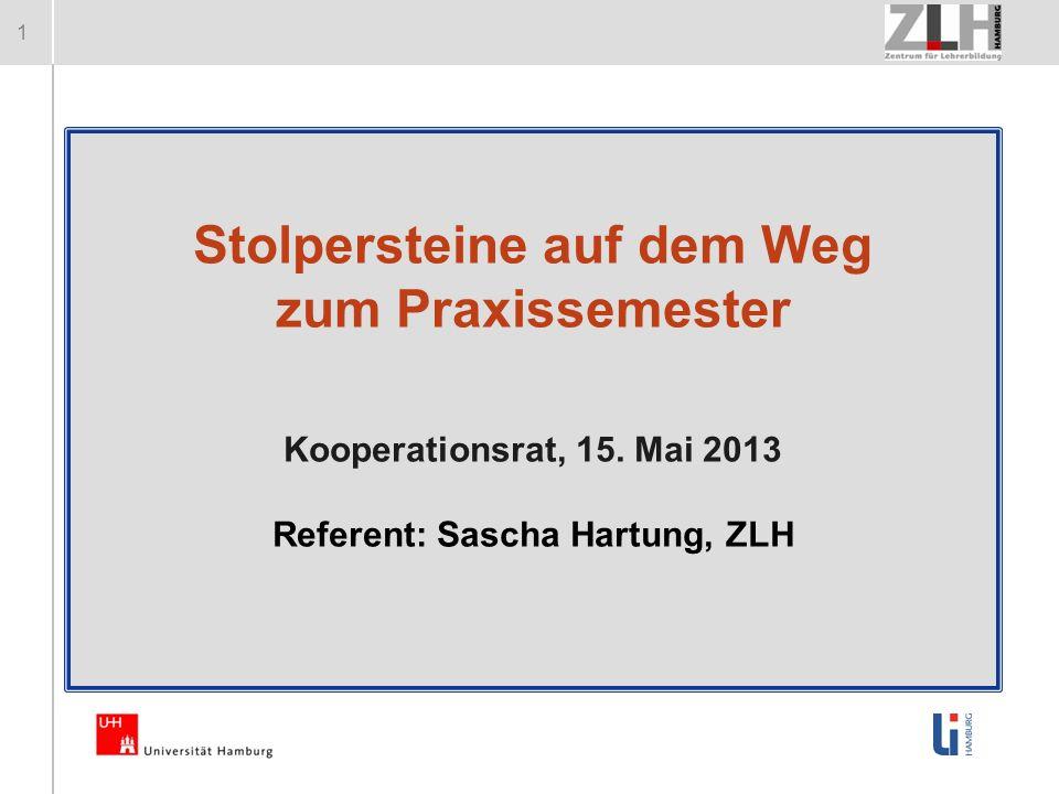 1 Stolpersteine auf dem Weg zum Praxissemester Kooperationsrat, 15. Mai 2013 Referent: Sascha Hartung, ZLH