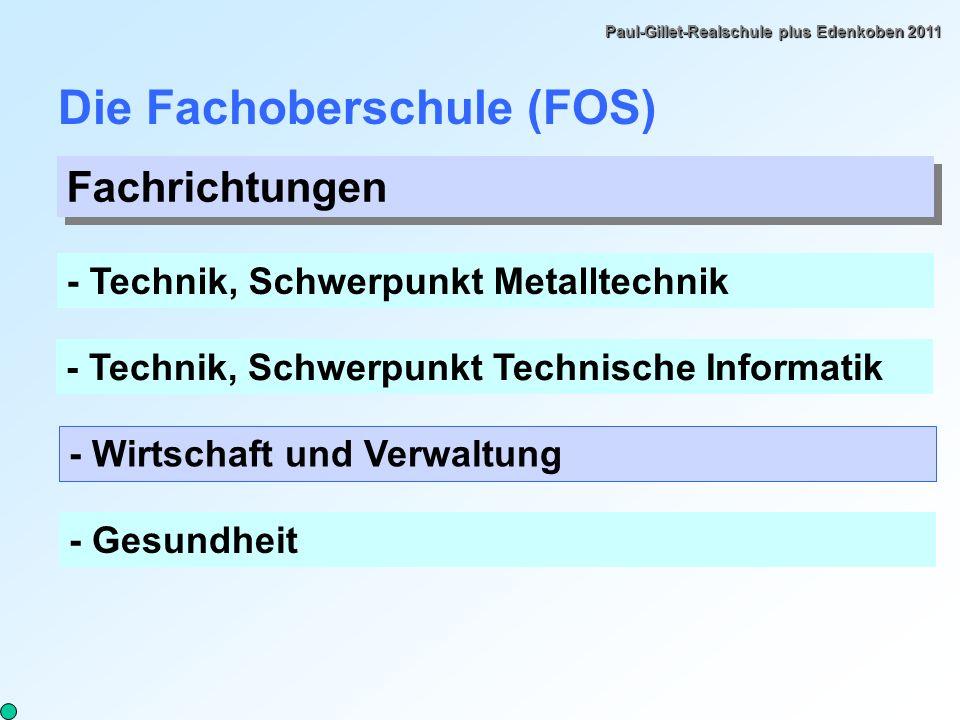 Paul-Gillet-Realschule plus Edenkoben 2011 Die Fachoberschule (FOS) Fachrichtungen - Technik, Schwerpunkt Metalltechnik - Technik, Schwerpunkt Technische Informatik - Wirtschaft und Verwaltung - Gesundheit