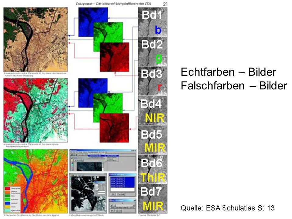 Echtfarben – Bilder Falschfarben – Bilder Quelle: ESA Schulatlas S: 13