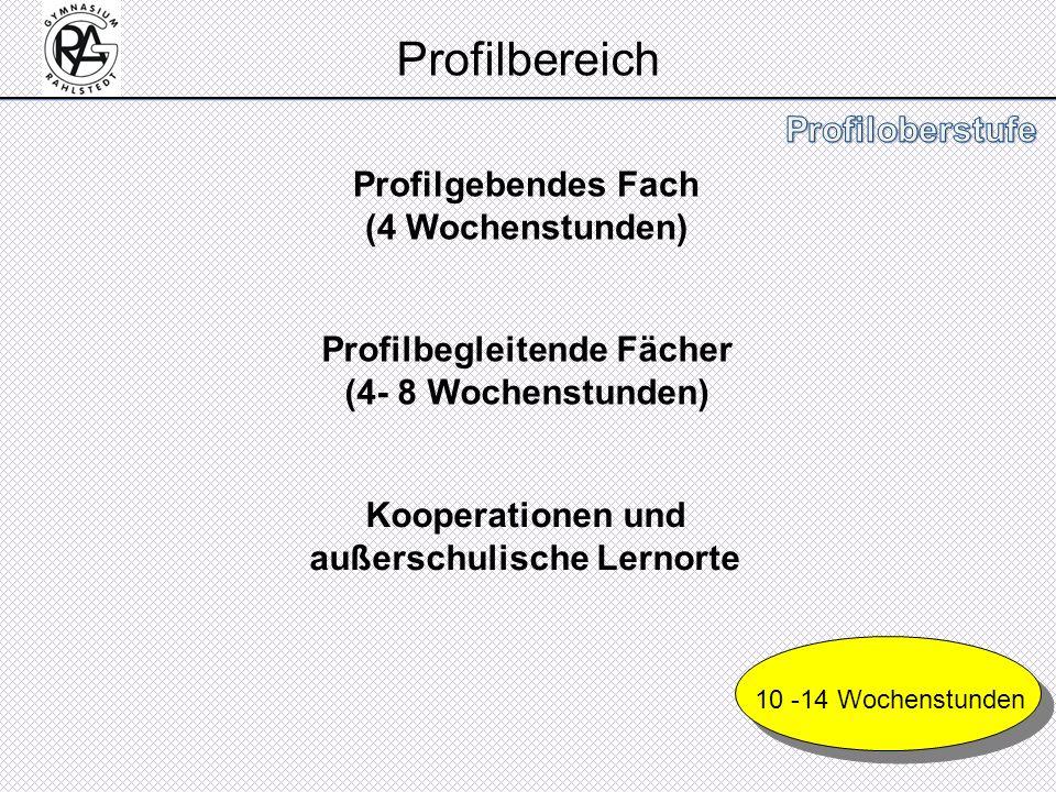 Profilbereich Profilgebendes Fach (4 Wochenstunden) Profilbegleitende Fächer (4- 8 Wochenstunden) Kooperationen und außerschulische Lernorte 10 -14 Wo