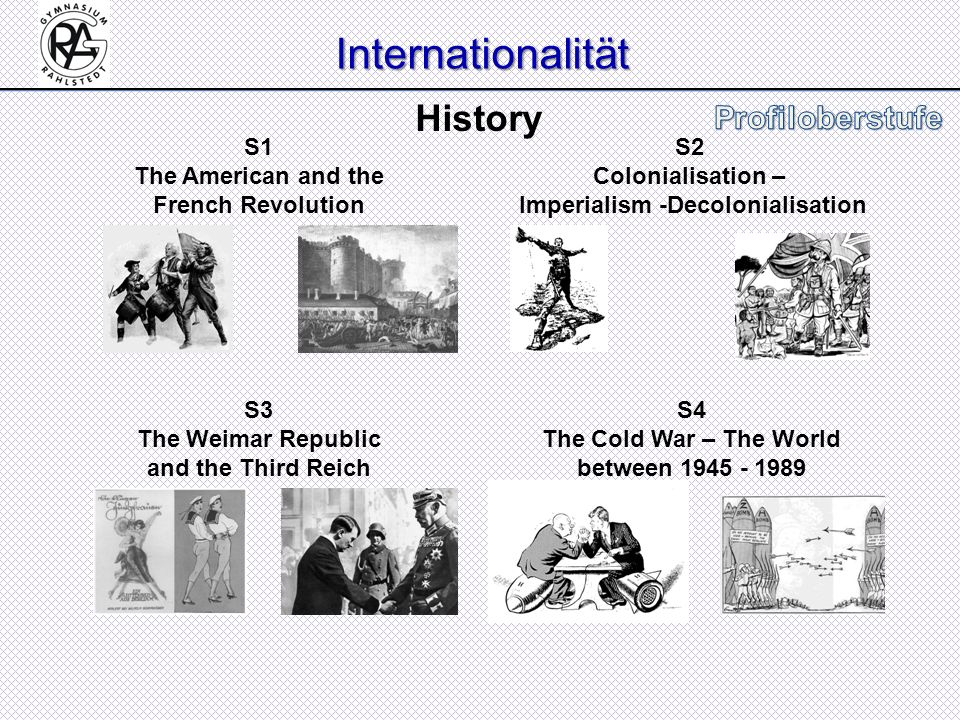 Internationalität S1 The American and the French Revolution S2 Colonialisation – Imperialism -Decolonialisation S3 The Weimar Republic and the Third R