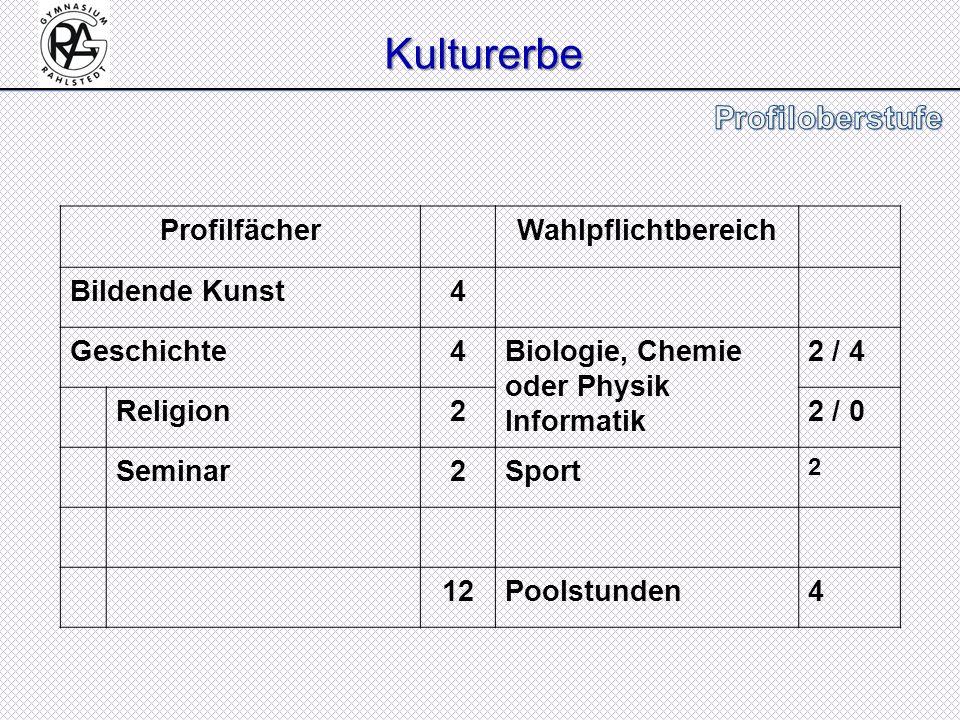 Kulturerbe Kulturerbe ProfilfächerWahlpflichtbereich Bildende Kunst4 Geschichte4Biologie, Chemie oder Physik Informatik 2 / 4 Religion22 / 0 Seminar2S
