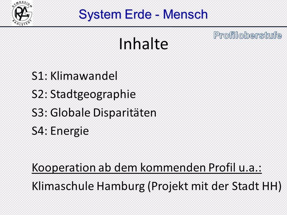 System Erde - Mensch S1: Klimawandel S2: Stadtgeographie S3: Globale Disparitäten S4: Energie Kooperation ab dem kommenden Profil u.a.: Klimaschule Ha