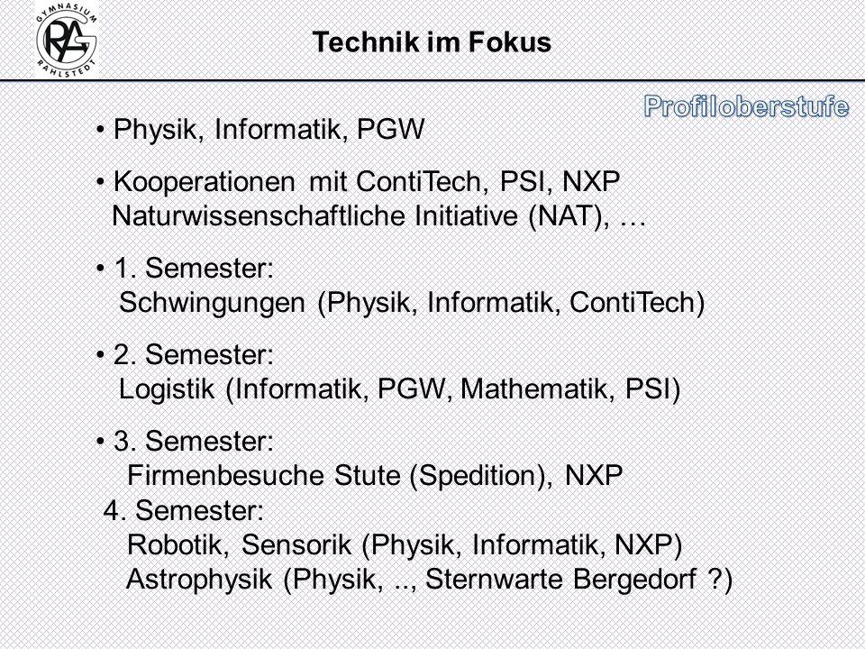 Physik, Informatik, PGW Kooperationen mit ContiTech, PSI, NXP Naturwissenschaftliche Initiative (NAT), … 1. Semester: Schwingungen (Physik, Informatik