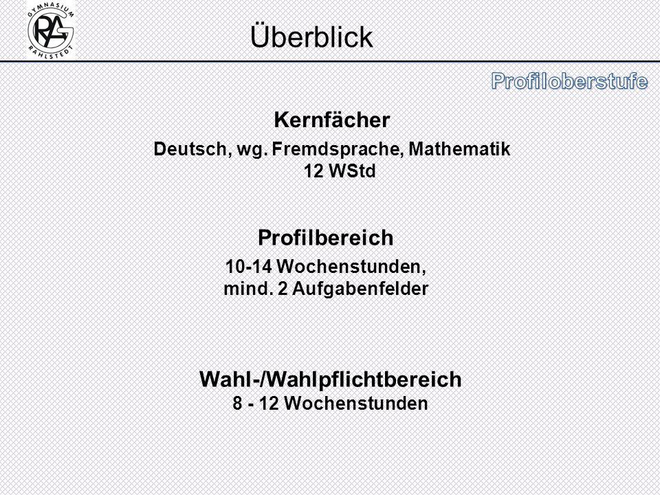 Kernfächer Deutsch, wg. Fremdsprache, Mathematik 12 WStd Profilbereich 10-14 Wochenstunden, mind. 2 Aufgabenfelder Wahl-/Wahlpflichtbereich 8 - 12 Woc